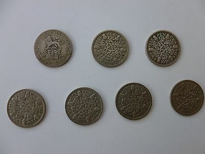Seven George V .500 Silver Sixpences