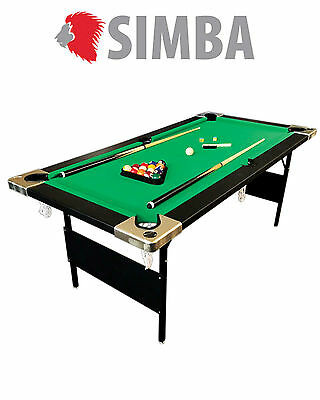 6 Ft Pool Table Folding Billiard Mod. ALADIN Snooker Solid! Indoor Sports NEW