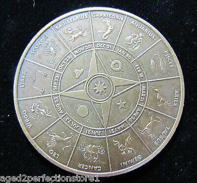 Vintage Astrology Medallion Paperweight Astrological Symbols double sided