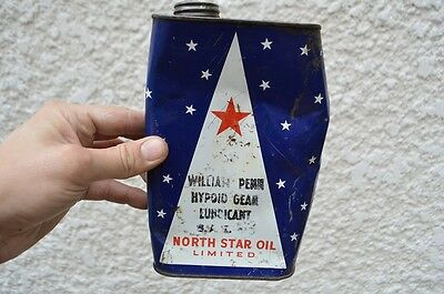Vintage William Penn North Star 1 Quart OIL CAN Tin Sign Display Collectible