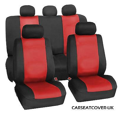 For Nissan Leaf  - Full Set of Luxury RED & BLACK LEATHERETTE Car Seat Covers