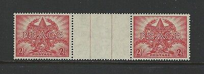 AUSTRALIA - #200 - 2 1/2d PEACE AND VICTORY GUTTER PAIR (1946) MNH  SG213