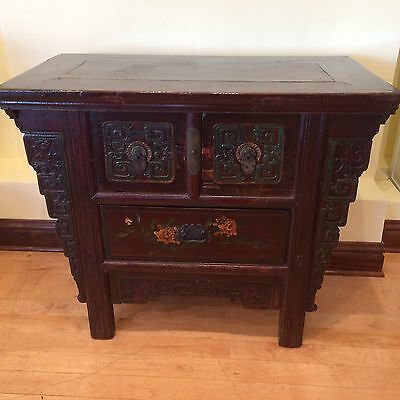 Antique Chinese 3-Drawer Carved Painted Chest