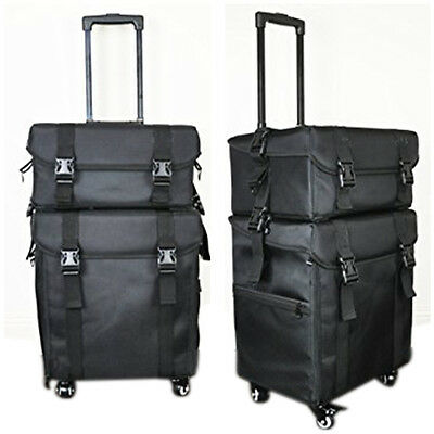 2 in 1 Luxury Nylon Makeup Cosmetic 4 Wheels Rolling Trolley Case Organizer 849L