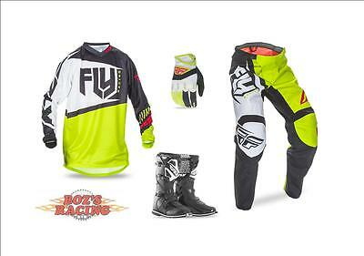 Fly Racing F-16 Jersey,pant,glove, Black Boot Combo Black, Lime, Red  Sx Mx