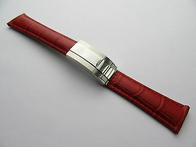 20Mm Red Genuine Leather Strap For Rolex Daytona Stainless Steel Clasp 2 Sizes