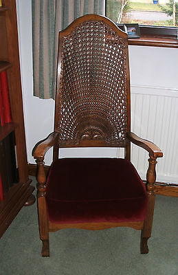 Antique Vintage Ladies Bedroom Hall Chair - Cane High Back with Red Velvet Seat