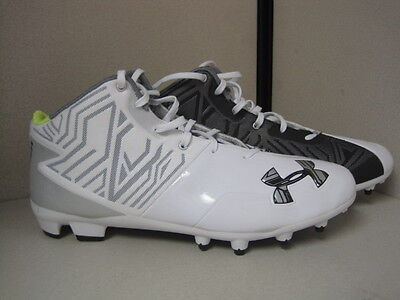 New Under Armour Team Banshee Mid MC Lacrosse Cleats Size 13 White / Black DK41