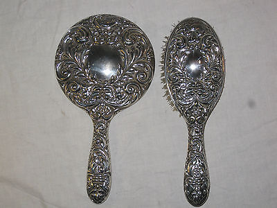 Supurb Green Man Embossed Sterling Silver Brush and Mirror