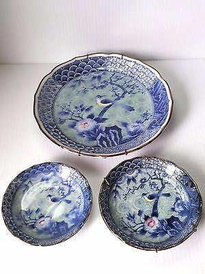 Vintage Set Andrea Sadek Bird Cherry Blossom Porcelain 3 Plates Blue White Japan