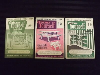 3 1950s Easi-bild Woodworking Patterns 42 Bookcase 323 Picnic Table 71 Toolbox