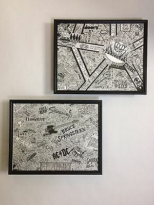 Two Piece Set of 1000 Rock & Roll Bands Wall Art