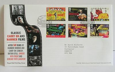 Classic Carry On and Hammer Films Royal Mail First Day Cover 2008