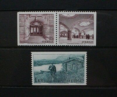SWEDEN 1974 UPU Centenary Post Offices. Set of 3. Mint Never Hinged. SG800/802