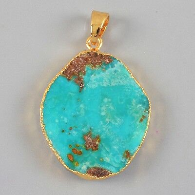 100% Genuine Turquoise Pendant Bead Gold Plated B024335