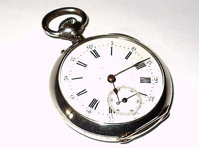 Antique Solid Silver French Pocket Watch,  Crab Hallmarks, Serial Number 16932