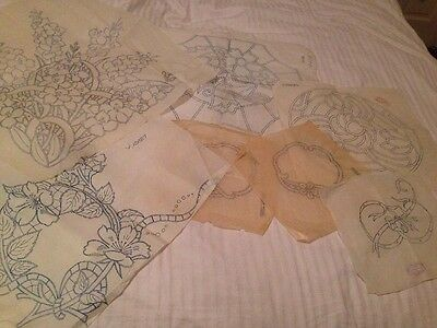 Small Joblot Large Jacobean Style Flower Iron on Embroidery Transfer