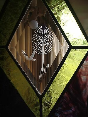 Vintage Stained Glass Window  Original Leaded Stain Glass Bird /Tree Etching