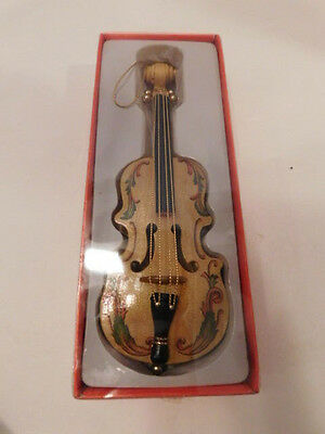 "CHRISTMAS ORNAMENT Wooden Violin/Cello, hand-painted, in original box, 7"" long"