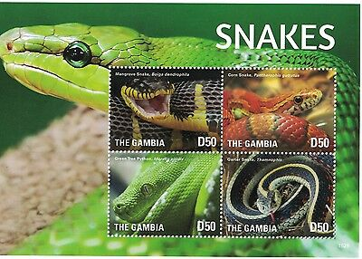 Gambia - Snakes, Reptiles, 2015 - 1529 M/S MNH