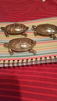 Set of 3Vintage Brass Tortoise/ Ashtray Or Trinket Box With Hinged Lid England