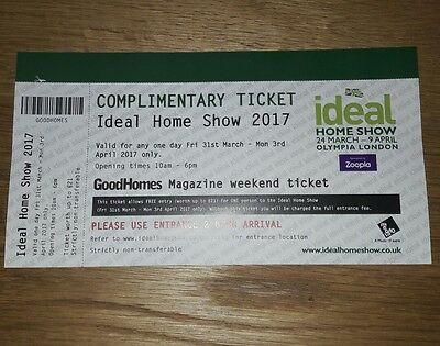Ideal home show London ticket for 1 person Friday 31st March - 3rd April