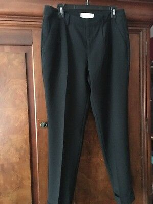 Joie Pleated Pocketed Cuffed Straight Leg Trousers Pants Size 10 Large Black