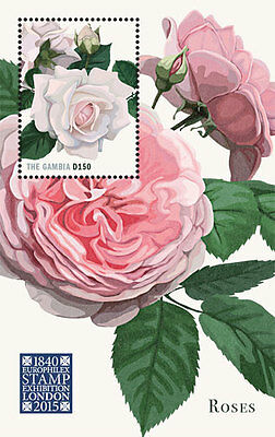 Gambia - London Stamp Exhibition: Roses, 2015 - 1509 S/S MNH