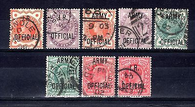 GB QV + EDVII OFFICIALS OVERPRINTS GOOD TO FINE USED x 8 STAMPS CAT £45.50