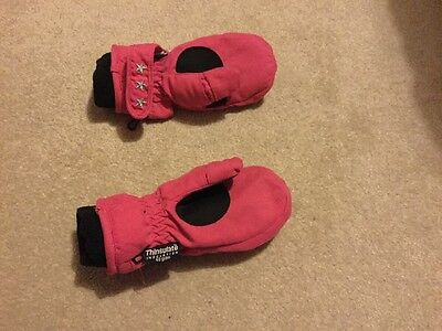 Girls Thinsulate Pink Gloves Size 5 To 6 Years