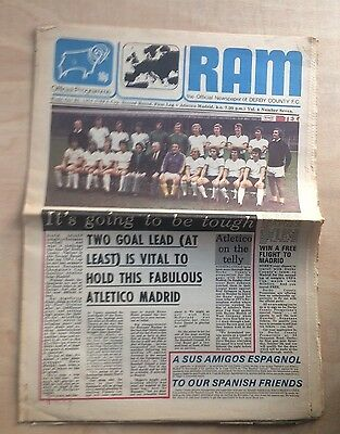 DERBY COUNTY v ATLETICO MADRID UEFA CUP 2nd ROUND 1st LEG PROGRAMME 24 OCT 1974