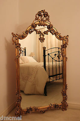 Antique Style Gilt Wall / Floor Mirror Large GOLD