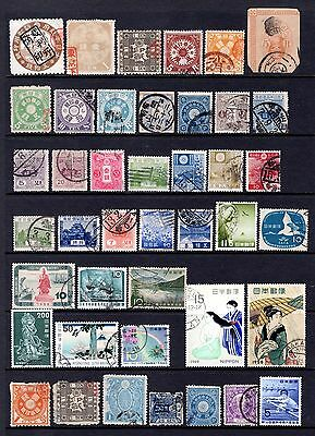 JAPAN EARLY TO MODERN GOOD TO FINE USED RANGE x 42 STAMPS SOME IN POOR CONDITION