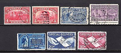 USA EARLY TO MODERN SPECIAL DELIVERY STAMPS x 7 GOOD TO FINE USED NOT CAT BY ME