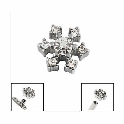SURGICAL STEEL Jewelled Snowflake Dermal Anchor Attachment - FREE UK Delivery!