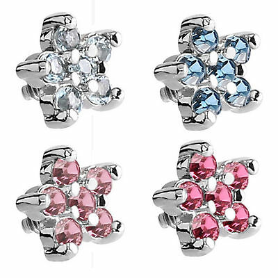 SURGICAL STEEL Jewelled Flower Dermal Anchor Attachment - FREE UK Delivery!