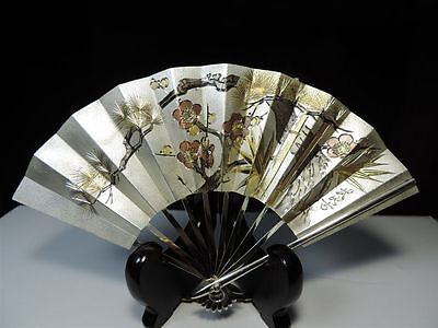 Exquisite H-Chased Signed Japanese Sterling Silver Fan 41 Grams Takehiko Japan