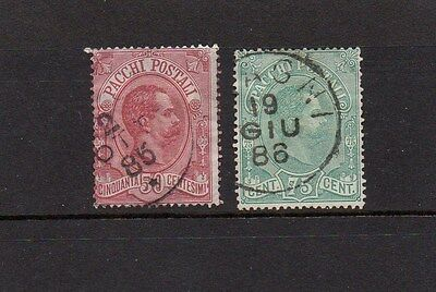 ITALY 1884 PARCEL POST 50 AND 75ct STAMPS SG P40-41 GOOD USED HIGH CAT VALUE £30