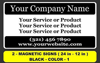 2 - 12x24 Custom Car Magnets Magnetic Auto Truck Signs
