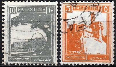 Palestine 1927 issue, SG 93a & 97a, 5m & 10m, Perf 14.5 x 14 used Coils, Cat £45