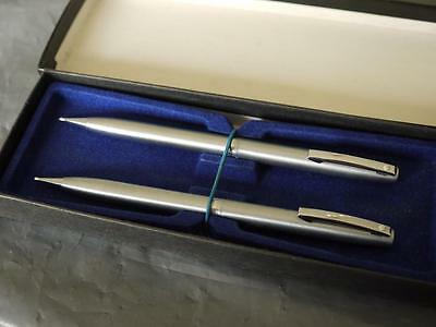 2 Excellent Cased Usa Sheaffer Brushed Stainless Steel Working Pencils
