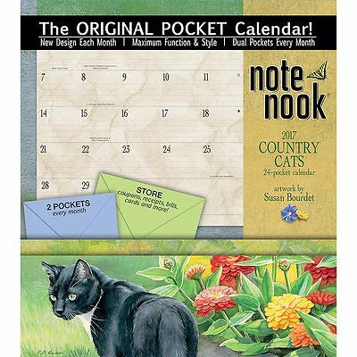 LANG Original Pockets Wall Calendar 2017.Country Cats Note Nook Susan by Bourdet