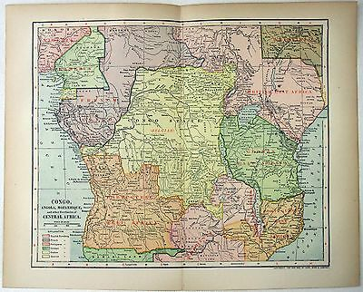 Original 1902 Map of Central Africa in the Colonial Era by Dodd Mead.   Congo