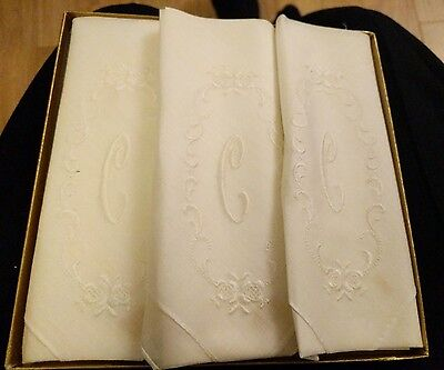 Three Vintage White Embroided Swiss Handkerchiefs