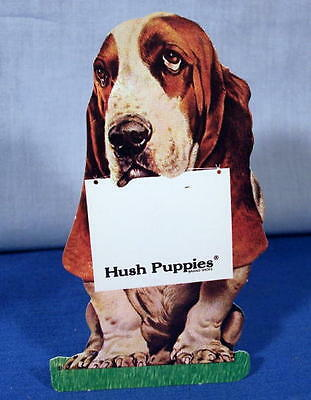 Hush Puppies Shoes  Die Cut Hound Dog  1950's ~ Advertising Card