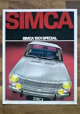 Simca 1501 Special 1968 Vintage Double Sided Sales Leaflet