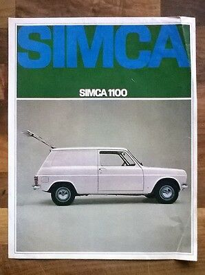 Simca 1100 1968 Vintage Double Sided Sales Leaflet