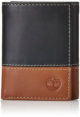 Timberland Hunter Black Brown Genuine Leather Credit Card Trifold Men Wallet
