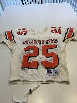 Game Worn Used Oklahoma State Cowboys OSU Football Jersey #25 Russell Size 44