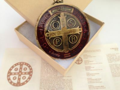 """Big SAN BENITO Medal ST SAINT BENEDICT MEDALLION XXL 3""""Brass Tone With Red Resin"""